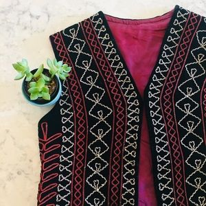 Vintage, hand made, embroidered vest